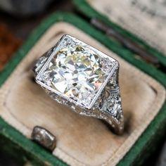 Vintage Engagement Rings | Antique Diamond Rings | EraGem Estate Engagement Ring, Antique Engagement Rings, Diamond Engagement Rings, Heirloom Rings, Antique Diamond Rings, 3 Carat, Art Deco Diamond, European Cut Diamonds, Diamond Cuts