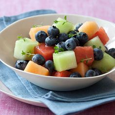#Fruit salad gets an aromatic upgrade with homemade lemon- and thyme-infused simple syrup that's drizzled over fresh bits of cantaloupe, honeydew melon, seedless watermelon and blueberries. #food