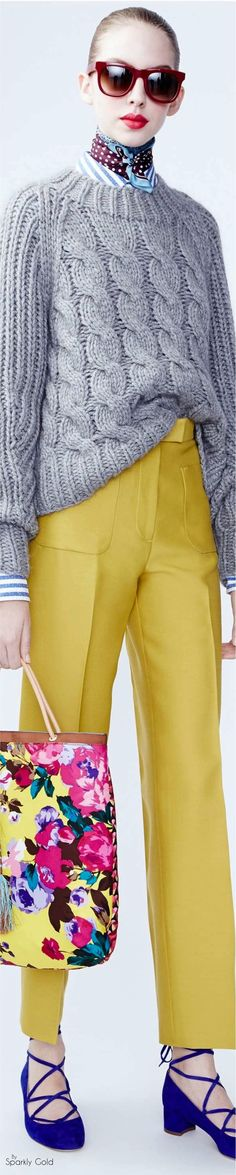 J. Crew F-16 RTW: striped shirt. grey sweater, yellow pants, floral bag, blue shoes.