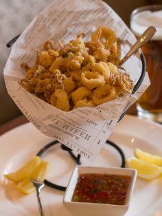 Cornmeal Crusted Calamari: flash-fried calamari served with Thai chili sauce