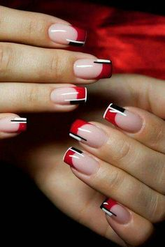 Black and Red Nail Designs for the Halloween Celebrations : Red And Black Colour Combinations French Nails. black and red nail art designs,black and red nail ideas,black and red nails,halloween nails French Nails, French Manicure Nails, Nails French Design, Black French Manicure, Gel Manicures, French Polish, Manicure Nail Designs, Red Nail Designs, Nails Design
