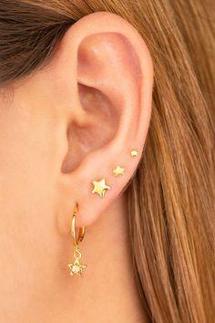 Cartilage Gold Ear Cuff No Piercing Helix Earring Non Pierced Ear Cuff Dainty Ear Cuff Delicate Ear Cuff Single Band Silver Ear Cuff - Custom Jewelry Ideas Barbell Earrings, Helix Earrings, Bar Stud Earrings, Cute Earrings, Earring Studs, Star Earrings, Cute Ear Piercings, Fake Piercing, Piercing Ideas