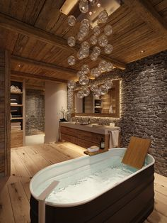 Creative Chalet style of interior decorating ideas Chalet Design, Chalet Style, House Design, Dream Bathrooms, Amazing Bathrooms, Coolest Bathrooms, Chalet Interior, Minimalist Bathroom, Bathroom Interior Design