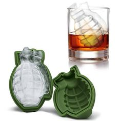 "Makes 1 large grenade shaped ice cube! Add a touch of explosion to your drinks and any theme parties! Great for making chocolates, gelatins, soaps and more Made from heat and cold resistant, food safe silicone. Dishwasher safe. Approx. 4.5"" x 3"" x 2.5"" / 11.5cm x 7.6cm x 6.36cm This 3D Grenade Ice Mold will add an expl"