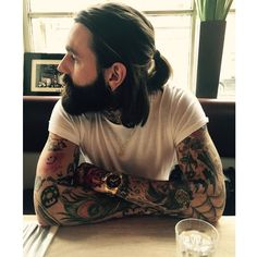 Ricki Hall - full thick beard beards bearded man men mens' style tattoos tattooed long hair ponytail