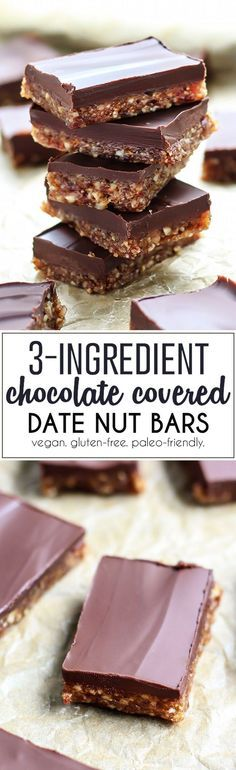 These 3-Ingredient Dark Chocolate Covered Date Nut Bars are such a simple, good-for-you treat you're most definitely going to want to keep your fridge stocked! All you need is a food processor, dates, nuts, melted dark chocolate and 10 minutes in the freezer for this healthy yet delectable dessert. Vegan and paleo-friendly.