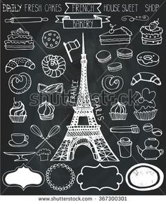 stock-vector-doodle-vector-french-bakery-cakes-and-dessert-pastries-icons-set-and-eifel-tower-chalkboard-367300301.jpg 381×470 pixels