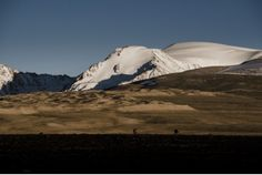 Silhouetted against the humbling grandeur of the Great Pamir, our group makes its way to camp at the end of day ten.