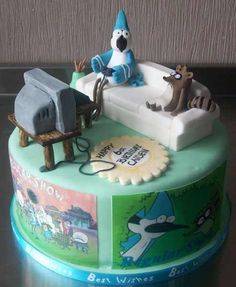 The Regular Show Cake -Seriously where are my friends on my birthday? Cake Cookies, Cupcake Cakes, Cupcakes, Fondant, Regular Show, Cakes For Boys, Kid Cakes, Incredible Edibles, Birthday Parties
