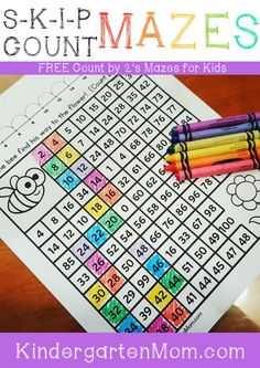 Free Skip Counting Mazes for children learning to count by 2's. These simple…