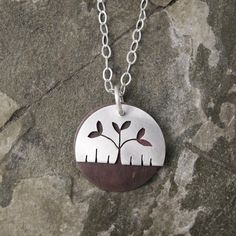 Copper+Fine+Silver+Leaf+Necklace.+by+coldfeetjewelry+on+Etsy,+$48.00