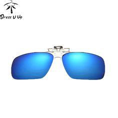 Square Polarized Lens Clip On Sunglasses For Men Night Vision Driver Clip Polarized Anti-UV Lentes De Sol Masculino Men Glasses