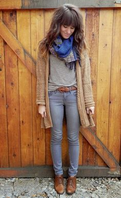 Oversized cardigan, stripes and scarf in fall outfits