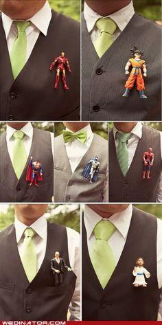 funny wedding photos - Badass Boutonnières Action Figures