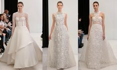 Angel Sanchez  It was all about the 1950s for Angel Sanchez's bridal collection. The designer channeled Grace Kelly's 1956 wedding dress but transformed it for today's bride by including details from traditional lace to patent leather.