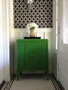 I suggested that she install a white or Carrera hex tile with dark, green grey grout because white tile will just get dirty anyway (unless it's the new epoxy grout). This way you get the clean look of white tile without the high maintenance factor. Large white tile shows everything.