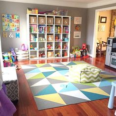"When I posted a photo of our formal living room turned #playroom a couple weeks ago, someone asked me if it was always super clean. The answer is no, although I made a bargain with H yesterday that if she wanted to have a ""sleepover"" with Mommy and Daddy, she had to clean the playroom. I've gotta say, I think she did a darn good job! Anyway, here's a real life shot of what this space typically looks like. We're constantly reorganizing it so that everything has a home, but that really helps H…"
