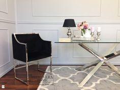 Stół do jadalni stal szklany przeźroczysty nowoczesny styl glamour srebrny ERMANNO - zdjęcie od PRIMAVERA-HOME.COM - Salon - Styl Nowojorski - PRIMAVERA-HOME.COM