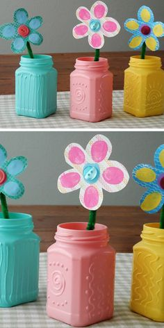 Recycled Spring Jars with Texture | Click Pic for 22 DIY Spring Crafts for Kid to Make | Easy Spring Craft Ideas for Toddlers