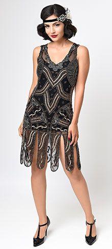 Unique Vintage Iridescent Black Geometric Wilde Flapper Dress | Unique Vintage