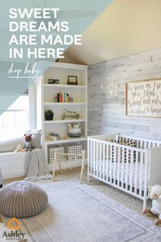 Unique nurseries for your unique little one. Check out the new nursery collections by Ashley Homestore. Nursery Twins, Baby Nursery Decor, Baby Decor, Nursery Room, Bedroom, Baby Room Themes, Baby Boy Rooms, Baby Boy Nurseries, Nursery Themes