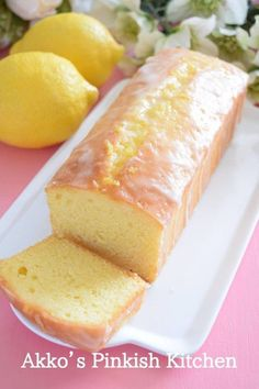 "A golden recipe for professional use ♡ ""Cake O Citron"" shining lemon cake - Pastry World Lemon Recipes, Banana Bread Recipes, Sweets Recipes, Cake Recipes, Cooking Recipes, Asian Desserts, Sweet Desserts, Tea Loaf, Asian Cake"