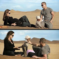 Pregnant Angie, daughter Zahara & Brad in Namibia in 2006