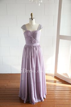 Beaded Cap Sleeve Sweetheart Long A-line Chiffon Prom Dress