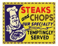 Butcher shop meat Sign steak pork chops deli / vintage retro Wall decor by RETRO SIGNS BY J E MATRIX. $16.85. J E MATRIX SIGNS AND DESIGNS  This is the perfect unique gift. Make a great impression with your friends or customers! This is an original design. Made of high quality tempered wood, very sturdy, with four holes, ready to pin anywhere  Hurry and get a unique J E MATRIX style sign...... Low low price! Sweet gift for a loved one.