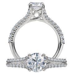 Classic diamond engagement ring featuring a prong set round cut center stone and split shank that is accented by the micropavé diamonds on half of the band. (This ring is available at TWO by LONDON; center stone sold separately). Call (516) 918-4200 for more info!
