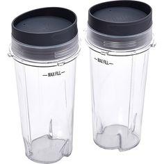 Ninja - 16 oz. Single Serve Cups with Lids (2-Pack) - Clear, XWP002CS