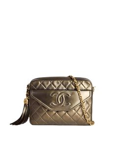 3fbf6648cde2e Chanel Vintage Green Metallic Lambskin Quilted Tassel Bag - from Amarcord  Vintage Fashion Jewelry Shop,