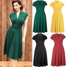 Vintage Damen 50er 60er Chiffon Rockabilly Kleid Abendkleid Petticoat 36 40 42