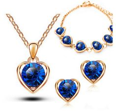 Gold & Silver Plated Heart Shaped Crystal Necklace, Earrings, and Bracelet Set