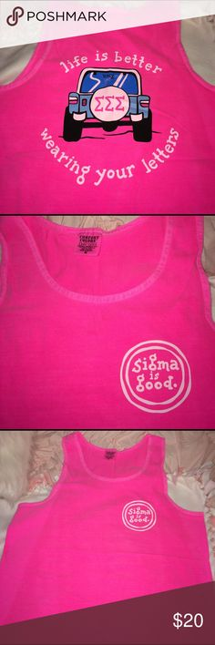 Tri Sigma Pink Tank Life IS better wearing your letters! Sigma Sigma Sigma sorority bright pink tank top. Size medium on comfort colors. Like new. Life is Good Tops Tank Tops