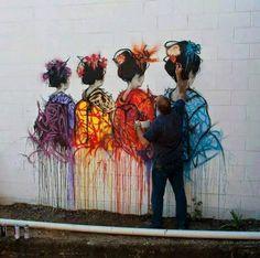 Street Art Asian Ladies in rainbow colors. Ruth chit chats to artist Jonny Arnold. Graffiti Murals, Murals Street Art, Art Mural, Street Art Graffiti, Urban Street Art, 3d Street Art, Street Artists, Urban Art, Arte Banksy
