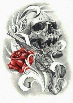 Gun rose skull