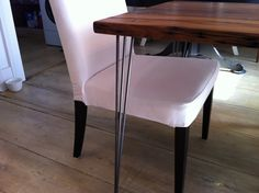 Modern industrial dining table featuring reclaimed barnwood top with hairpin legs. $695.00, via Etsy.