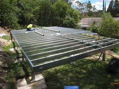 Granny flat floor frame- Spantec Boxspan steel bearer and joist and steel EziPiers- Built by Granny Flat Solutions- Lindfield NSW