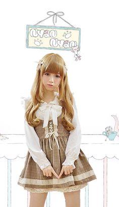 Creamy mocha gyaru style plaid pinafore dress