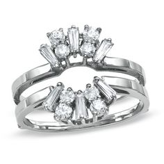 1/2 CT. T.W. Diamond Solitaire Ring Enhancer in 14K White Gold - Zales    something like this except asymmetrical starburst