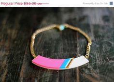 ON SALE Neon Pink Geometric Statement by bugga on Etsy, $28.00