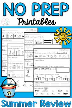 Summer Review for Kinder Kids - Language Arts and Math This pack contains 40 printables. You will find 20 printables for Language Arts and 20 printables for Math that can be used as a Summer Review Take Home Packet, Morning Work, Homework, as an Assessment, or as a Pre-Assessment for first grade.