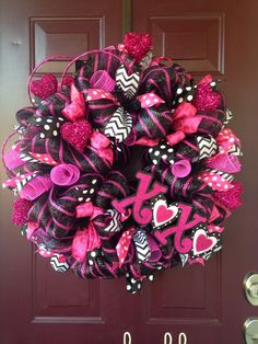 XOXO Hugs And Kisses Hot Pink and Black Valentine's Day Deco Mesh Wreath