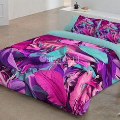 Funda Nórdica 9003 Zebra Textil. Pétalos de flores en tonos rosas, morados y turquesa adornan esta fantástica funda nórdica que alegrará tu habitación dando un gran toque de color.
