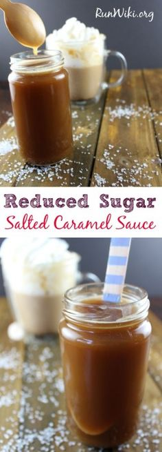 Reduced Sugar salted caramel sauce. This dessert condiment can be used for anything from an ice cream topping to skinny lattes - I have even used it as a fruit dip. Delicious and so easy to make. Vegan and Gluten Free- only 5 ingredients
