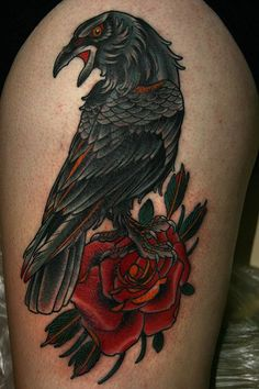 Raven and Rose Tattoo - 60 Mysterious Raven Tattoos <3 !