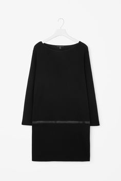 Leather detail wool dress