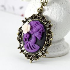 Steampunk Skull lady Necklace with white rose flower by Sevinoma, $9.00