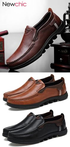 finest selection 2d65d 3133a  50% off Men Large Size Cow Leather Slip On Soft Casual Shoes
